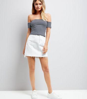 White Stripe Bardot Neck Crop Top New Look