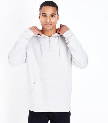Pale Grey Half Zip Hoodie New Look