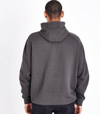 Dark Grey Half Zip Hoodie New Look