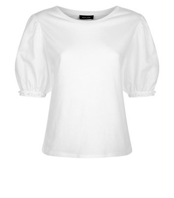 White Woven Puff Sleeve T-Shirt New Look