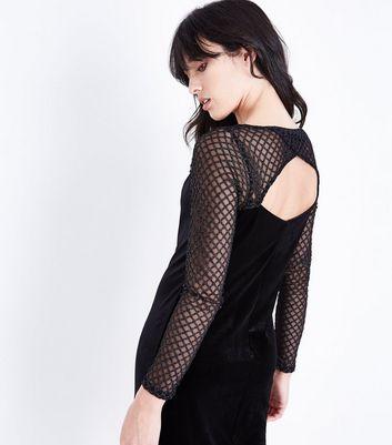 Black Glitter Fishnet Mesh and Velvet Mini Dress New Look