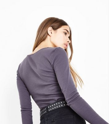 Dark Grey Lace Up Neck Long Sleeve Top New Look