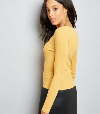 Yellow Lace Up Neck Long Sleeve Top New Look