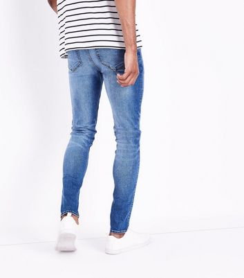 Blue Distressed Skinny Jeans New Look