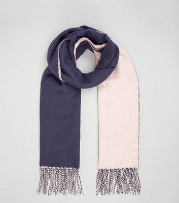 Blue and Pink Colour Block Scarf New Look