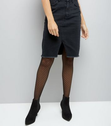 Black Sheer Polka Dot Tights New Look