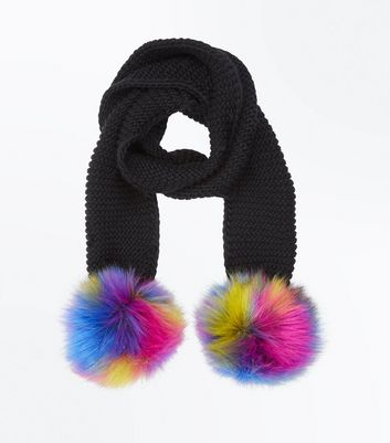 Black Faux Fur Pom Pom Scarf New Look
