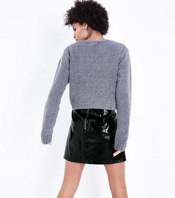 Black Vinyl Mini Skirt New Look