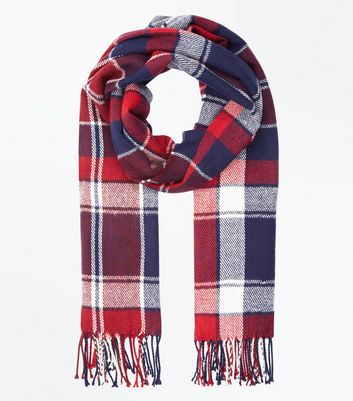 Red Check Tassel Fringed Scarf New Look