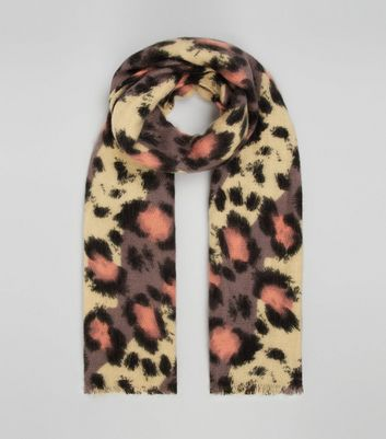 Multi-Coloured Leopard Print Scarf New Look