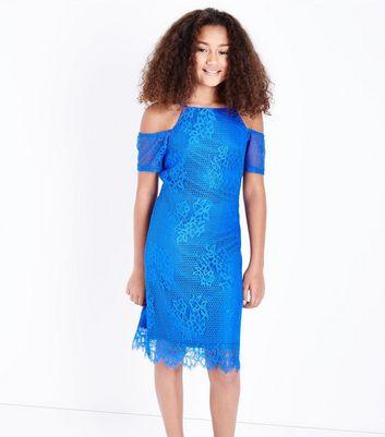 Teens Blue Mesh Lace Cold Shoulder Dress New Look