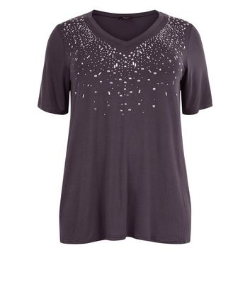 Curves Dark Grey Embellished V Neck Top New Look