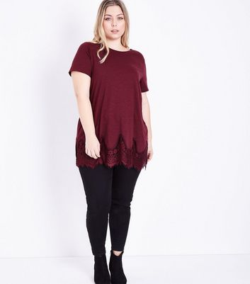 Curves Burgundy Lace Hem Oversized T-Shirt New Look