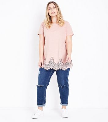 Curves Shell Pink Lace Hem Oversized T-Shirt New Look