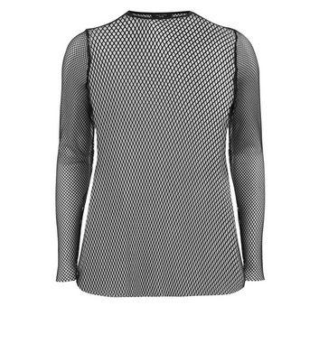 Curves Black Sheer Fishnet Long Sleeve Top New Look