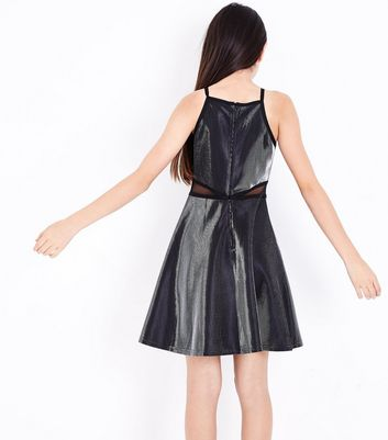 Teens Silver High Shine Skater Dress New Look