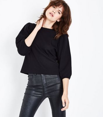 Black 3/4 Balloon Sleeve Top New Look