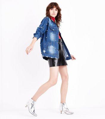 Pink Vanilla Blue Pearl Embellished Denim Jacket New Look