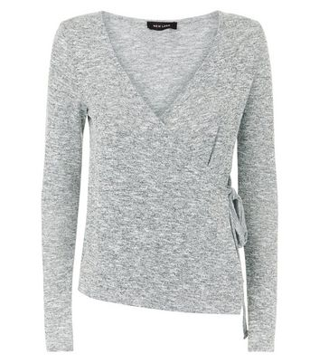 Grey V Neck Tie Side Wrap Top New Look