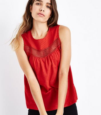 Red Lace Panel Spot Detail Vest Top New Look