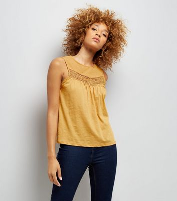 Yellow Lace Panel Spot Detail Vest Top New Look