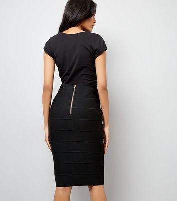 Black Studded Bandage Pencil Skirt New Look