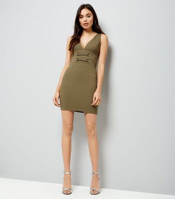 Khaki Corset Front Plunge Neck Bodycon Dress New Look