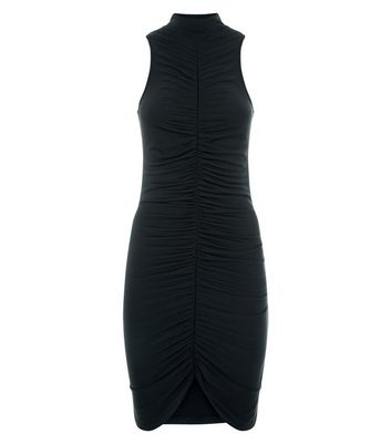 Black Ruched Front High Neck Bodycon Dress New Look