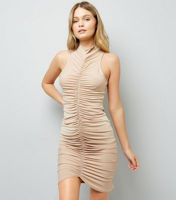 Shell Pink Ruched Front Bodycon Dress New Look