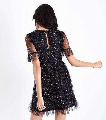 Black Mesh Glitter Spot Print Frill Sleeve Dress New Look