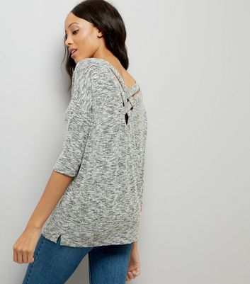 Pale Grey Fine Knit Lattice Back Top New Look