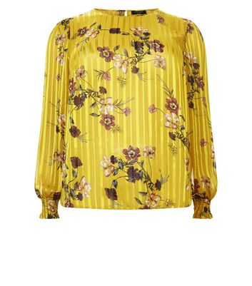 Curves Yellow Floral Stripe Balloon Sleeve Blouse New Look
