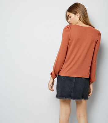 Light Brown Fine Knit Crew Neck Top New Look