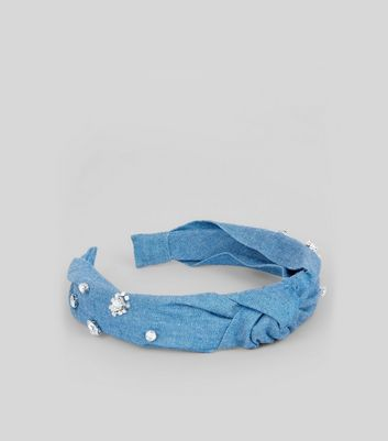 Blue Denim Embellished Twisted Top Hair Band New Look