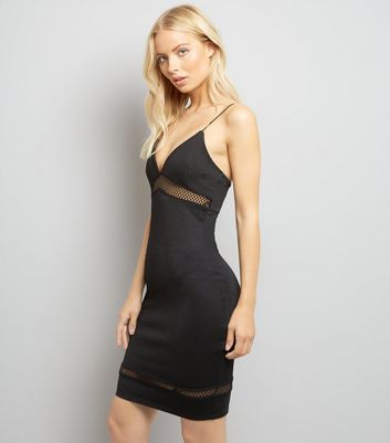 Black Fishnet Panels Bodycon Dress New Look