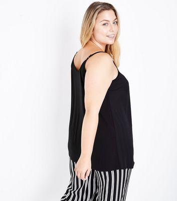 Curves Black Lattice Front Cami Top New Look