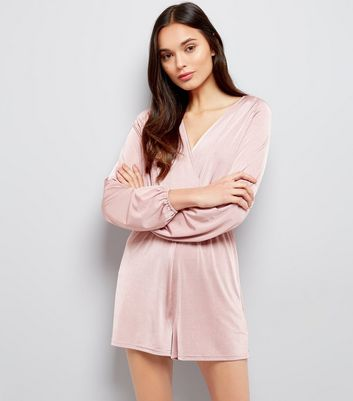Mink Wrap Front Long Sleeve Playsuit New Look