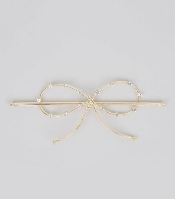 Gold Diamante Bow Hair Clip New Look