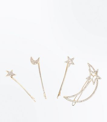 4 Pack Gold Cosmic Design Hair Clips New Look