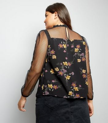 Curves Black Floral High Neck Blouse New Look