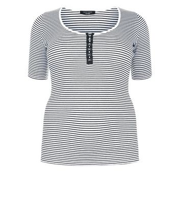 Curves Black Stripe Hook and Eye T-Shirt New Look