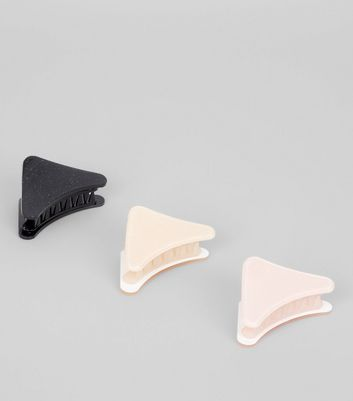 3 Pack Black  Nude And Pink Glitter Triangle Bulldog Clips New Look