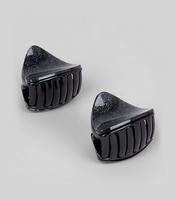 2 Pack Black Glitter Curved Triangle Bulldog Clips New Look