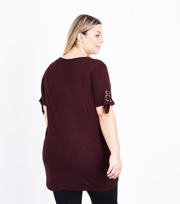 Curves Burgundy Eyelet Sleeve Longline Top New Look