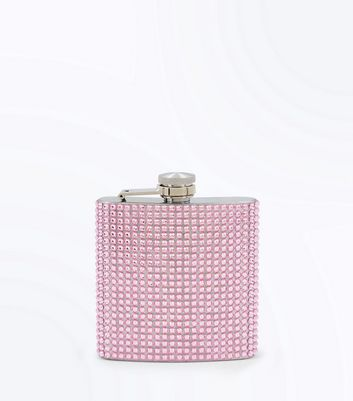 Pink Diamante Embellished Hip Flask New Look