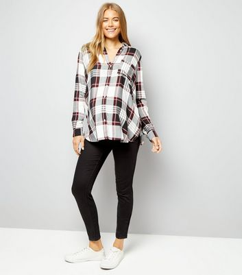 Maternity White Check Long Sleeve Shirt New Look