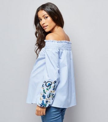 Maternity Blue Embroidered Sleeve Bardot Neck Top New Look