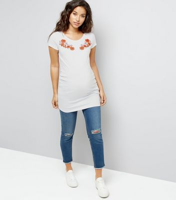 Maternity White Floral Puff Print T-Shirt New Look