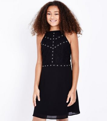 Teens Black Eyelet Lace Bodice Skater Dress New Look