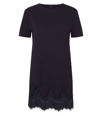 Tall Black Lace Hem Oversized T-Shirt New Look
